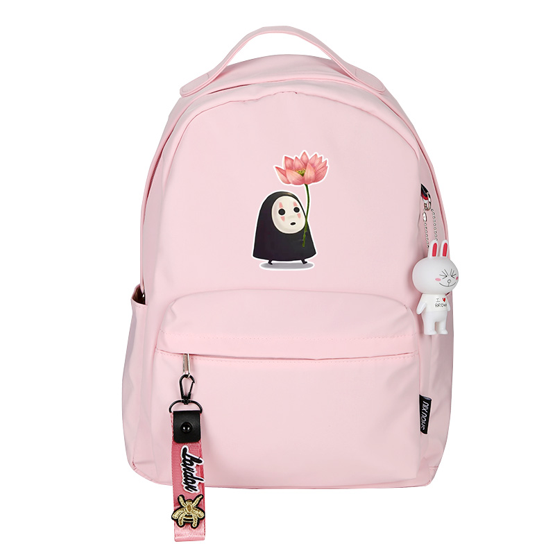 <font><b>Spirited</b></font> <font><b>Away</b></font> No Face Man Women Pink Bagpack Kawaii Small <font><b>Backpack</b></font> Waterproof Travel Bagpack Totoro School Bags Pink Bookbag image