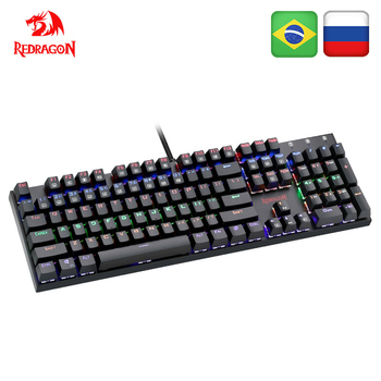Redragon K565 Rainbow USB Mechanical Gaming Keyboard Aluminum Blue Switch Ergonomic Led Backlit 104 Keys Wired Computer Game