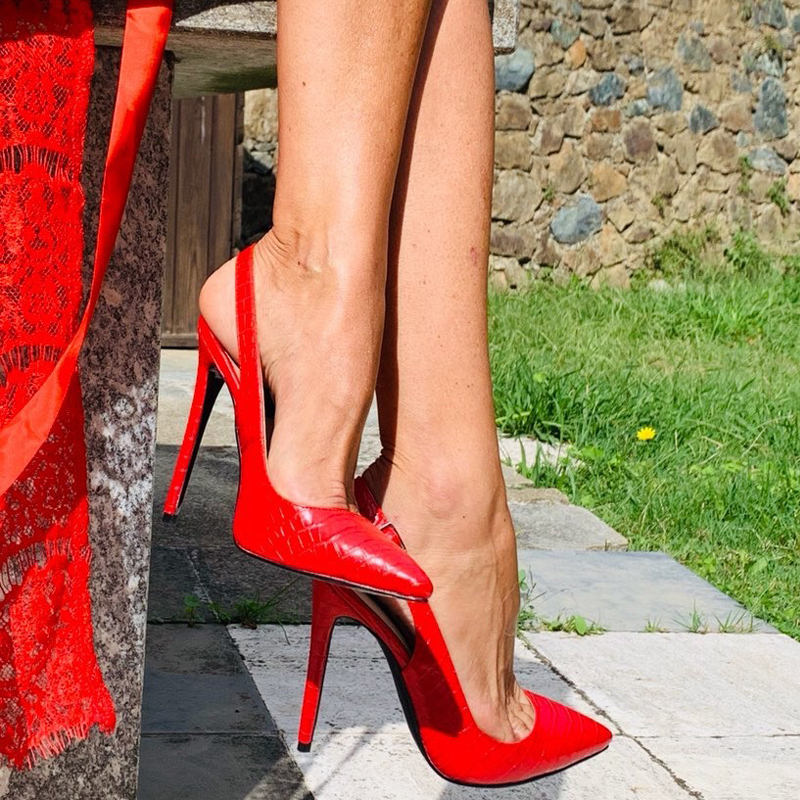 Onlymaker Women's 12CM Slingback High Heels Pumps Red Color Pointed Toe Ankle Strap Fashion Sandals Big Size US5~US15