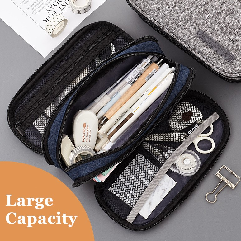 Kawaii Stationery Portable Double Layer Pencil Case Large Capacity  Canvas School Office Supplies Make up Bag Pen Box Student