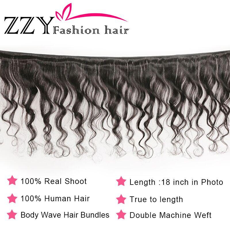 H468622f7e68a45b4bf2a1b05b03b791aH ZZY Fashion Hair Brazilian Body Wave Bundles With Closure M Ratio Non-Remy Human Hair Weave Bundles With Closure