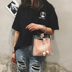 Image 5 - 2019 sommer neue JIULIN Koreanische mode tragbare transparent schulter einfachen pump diagonal eimer tasche