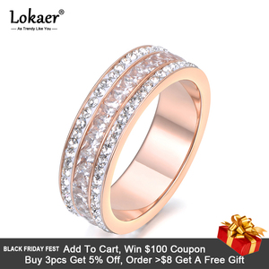 Lokaer Fashion Jewelry Rose Gold Color 3 Rows Ring With Clay Crystals & AAA Zircon Stainless Steel Ring 6mm Width R18132