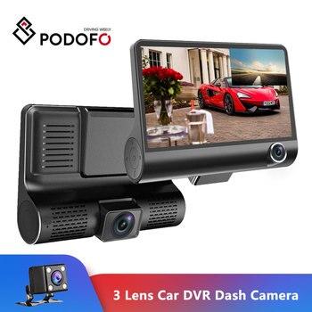 Podofo 4'' Three-way Car Camera Three Lens Video Registrator Dash Cam Video Recorder G-sensor Auto Dashcam DVR Driving Recorder