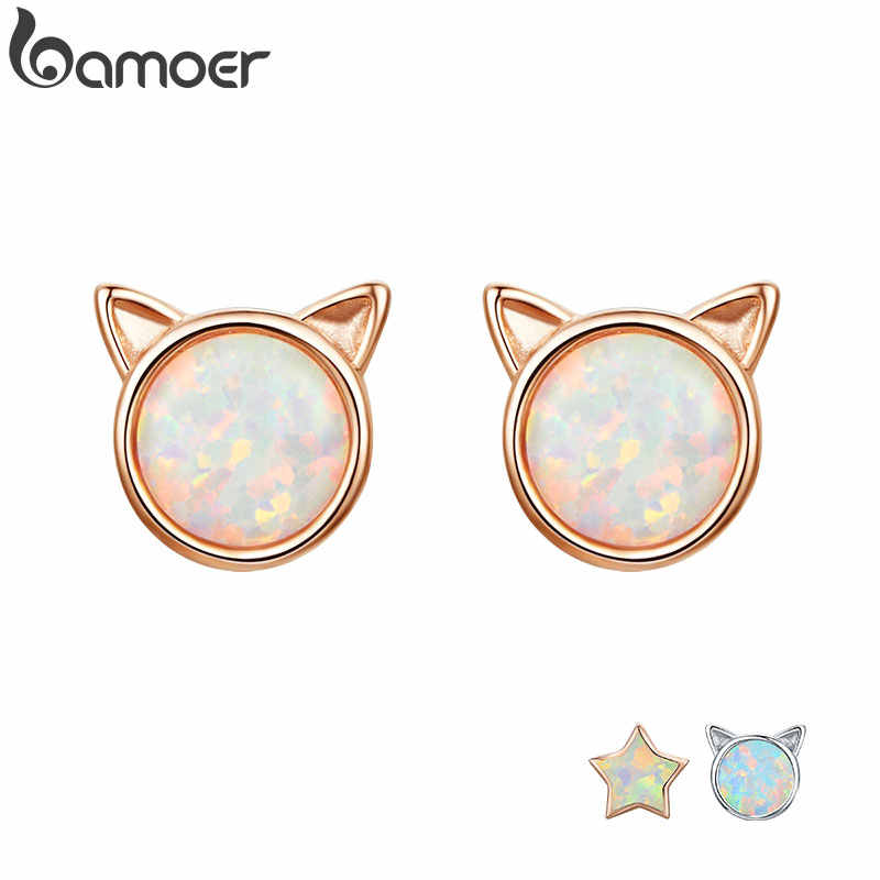 BAMOER New Arrival 925 Sterling Silver Cute Cat Ears Big Stone Small Stud Earrings for Women Fashion Earrings Jewelry SCE538