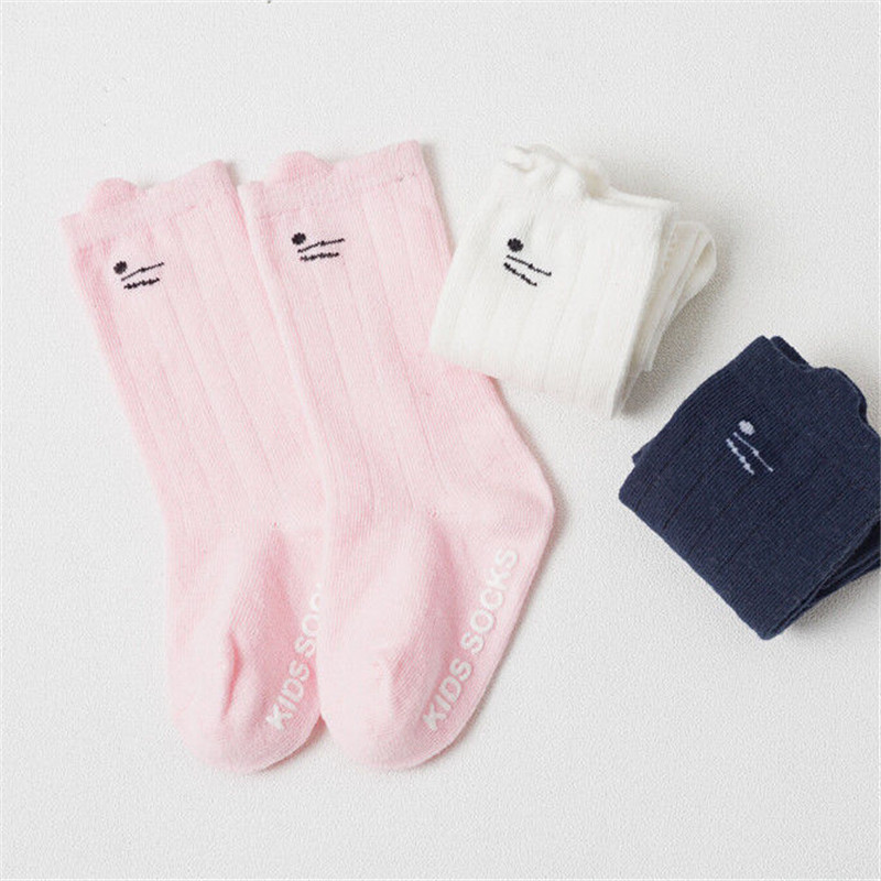 Baby Cartoon Cat Ear Printed Socks 2019 Fashion Baby Girl Boy Cotton Sock Newest Toddler Unisex Knee High Pink/White/Navy Socks