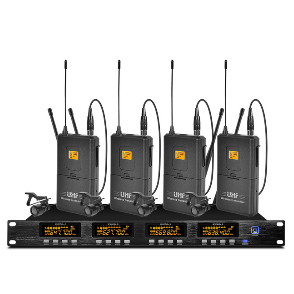 Professional UHF wireless microphone system four lavalier microphone wireless for church room school outdoor lecture|Microphones| |  - title=