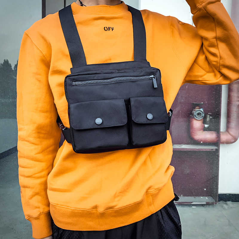 Men Waist Bag Hip-hop Chest Rig Bag For Men Tactical Vest Pack Male Abdomon Bags Canvas Fanny Pack Chest Purse Streetwear Kanye