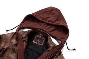 Image 5 - 新しい男性付きのジャケット秋の冬のオートバイの Pu ジャケットコート 2019 ファッションスリムフィット男性ジッパーボンバージャケット 4XL