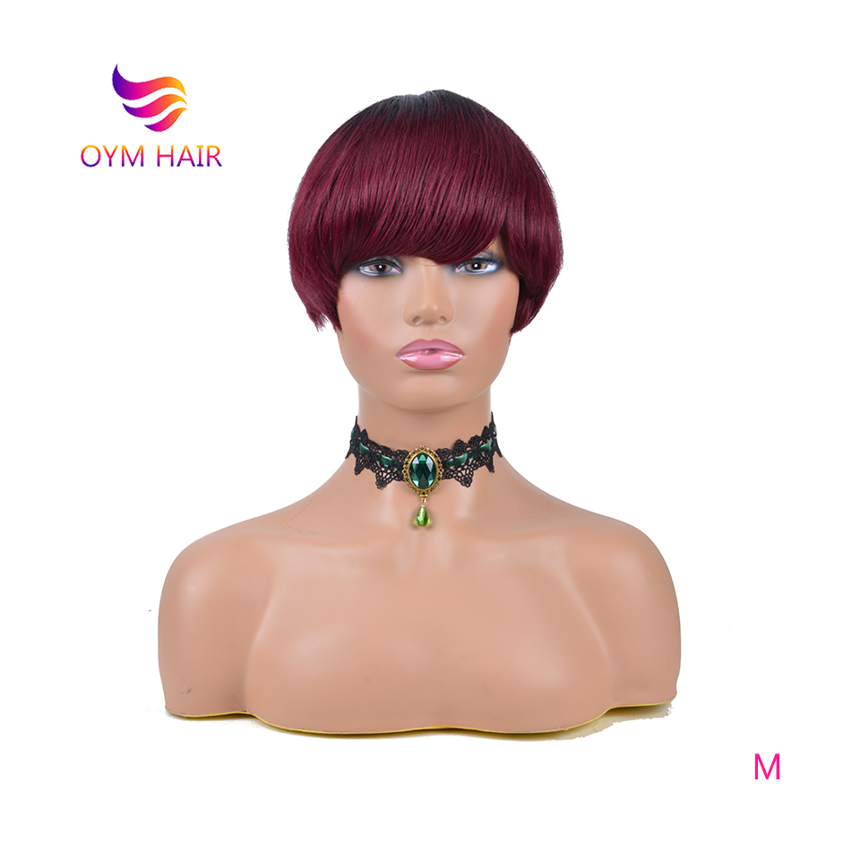 OYM HAIR Peruvian Remy Human Hair Wigs For Black Women Machine Made Short Straight Hair Wig Colorful Cheap Wig 150%