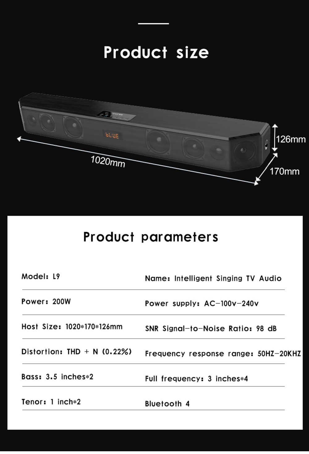 L9 Soundbar home theater karaoke TV Sound bar analog 3D stereo surround sound wireless phone Bluetooth speaker subwoofer