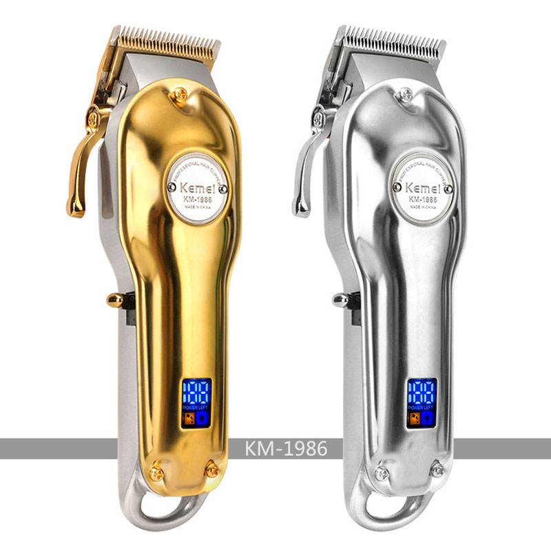 Kemei Electric Hair Trimmer KM-1986 Professional Rechargable Hair Clipper Oil Head Haircut Machine 2500mah Metal Body