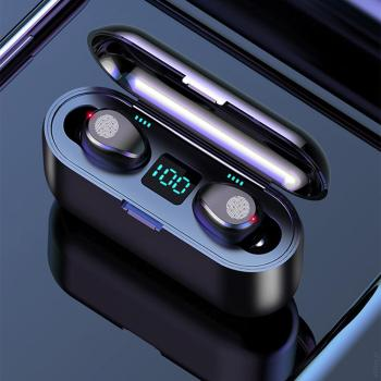 F9 TWS Wireless Headsets Large Capacity Charging Box Bluetooth-compatible Earphones Sport Waterproof With Touch Control 9D HiFI 1