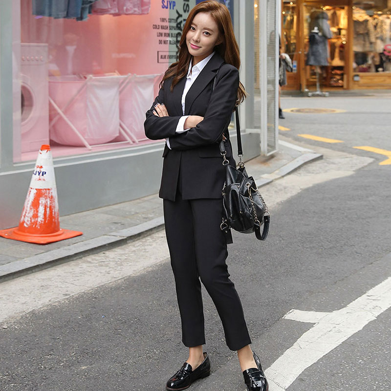 2020 New Elegant Office Work Wear Pant Suits OL 2 Piece Sets Solid Blazer Jacket & Trousers Suit For Women Set Femme