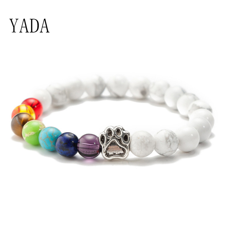 YADA Gifts Luxury Cat <font><b>Dog</b></font> <font><b>Paw</b></font> <font><b>Bracelets</b></font>&Bangles For Women Distance Chakra <font><b>Bracelets</b></font> Crystal Jewelry Rainbow <font><b>Bracelet</b></font> BT200100 image