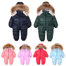 Baby Jacket 90% Duck Down-30 Russian Winter Snowsuit Clothes For Boys girls Kids Jumpsuit infant thicken Waterproof snowsuits стоимость