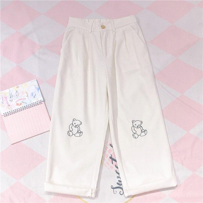 Women Harajuku Korean Teen Girls Loose Thin Bear Embroidery Pants Wild Casual Female Cute Japanese Kawaii Small Fresh Pants