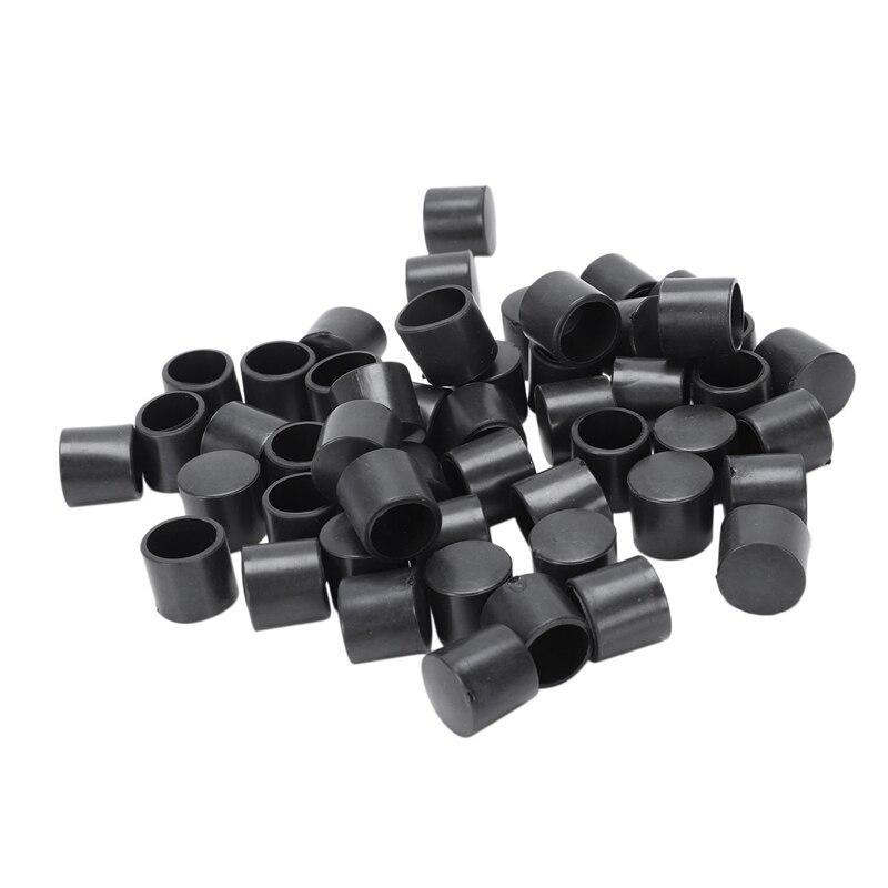 50 шт черная резиновая ПВХ гибкая круглая Торцевая крышка круглая 12 мм Крышка для ног