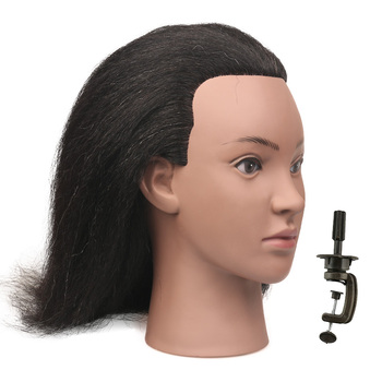 Black Female Mannequin Head With Hair For Braiding Real Hair Training Head Mannequin Doll Head Hair Styling Hair Mannequins practice braiding mannequin head with hair black training head hair doll head mannequins for sale hairdressing head female