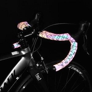 Image 5 - כביש אופני Noctilucent כידון קלטות אור רעיוני לסנוור רכיבה על אופניים בר קלטת MTB עור מפוצל צבעוני אופניים מזלג גריפ קלטת