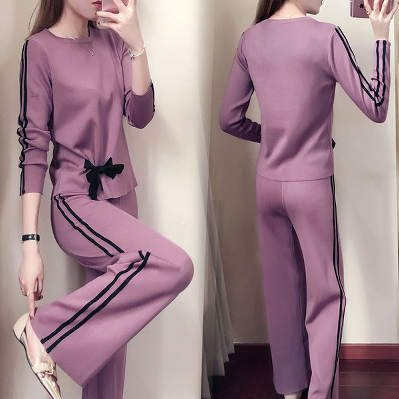 Knitted Two Piece Set Women Outfits Tops Sweater Wide Leg Trousers Pants Sets Knit Suits Casual Office Female Women's Costume