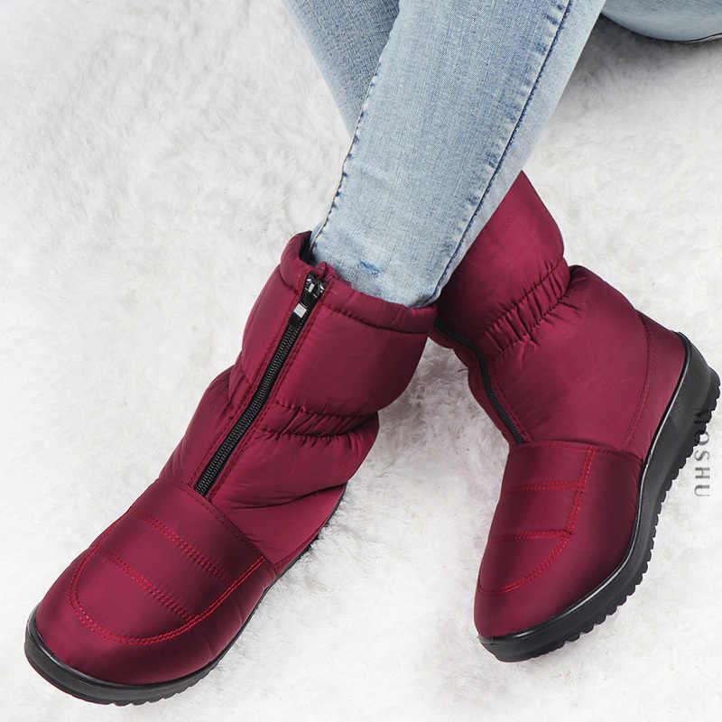Kış Kar Botları Kadın Platformu yarım çizmeler Bayanlar Su Geçirmez Sıcak Kürk Botines Kadın Ön Zip kaymaz Zapatos De Mujer