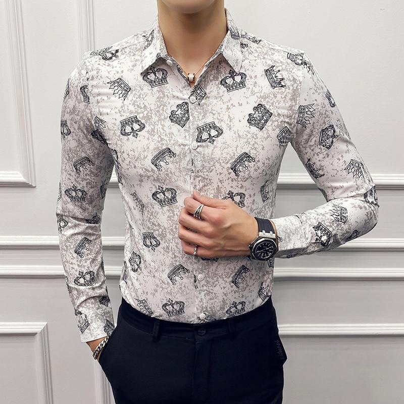 2020 Luxury Crown Print Men Shirt Slim Fit Long Sleeve Casual Dress Shirts Camisa Homme High Quality Streetwear Social Blouse
