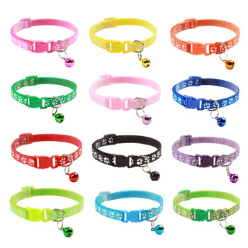 Pet Cat Collar Cute Paw Print Cat Bell Collar Adjustable Nylon Ribbon Collar for Cats Small Dogs Puppy Neck Strap image
