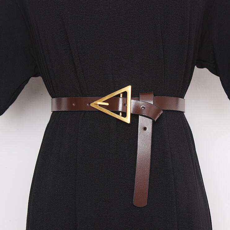 Women's Runway Fashion Genuine Leather Cummerbunds Female Dress Corsets Waistband Belts Decoration Narrow Belt R2865