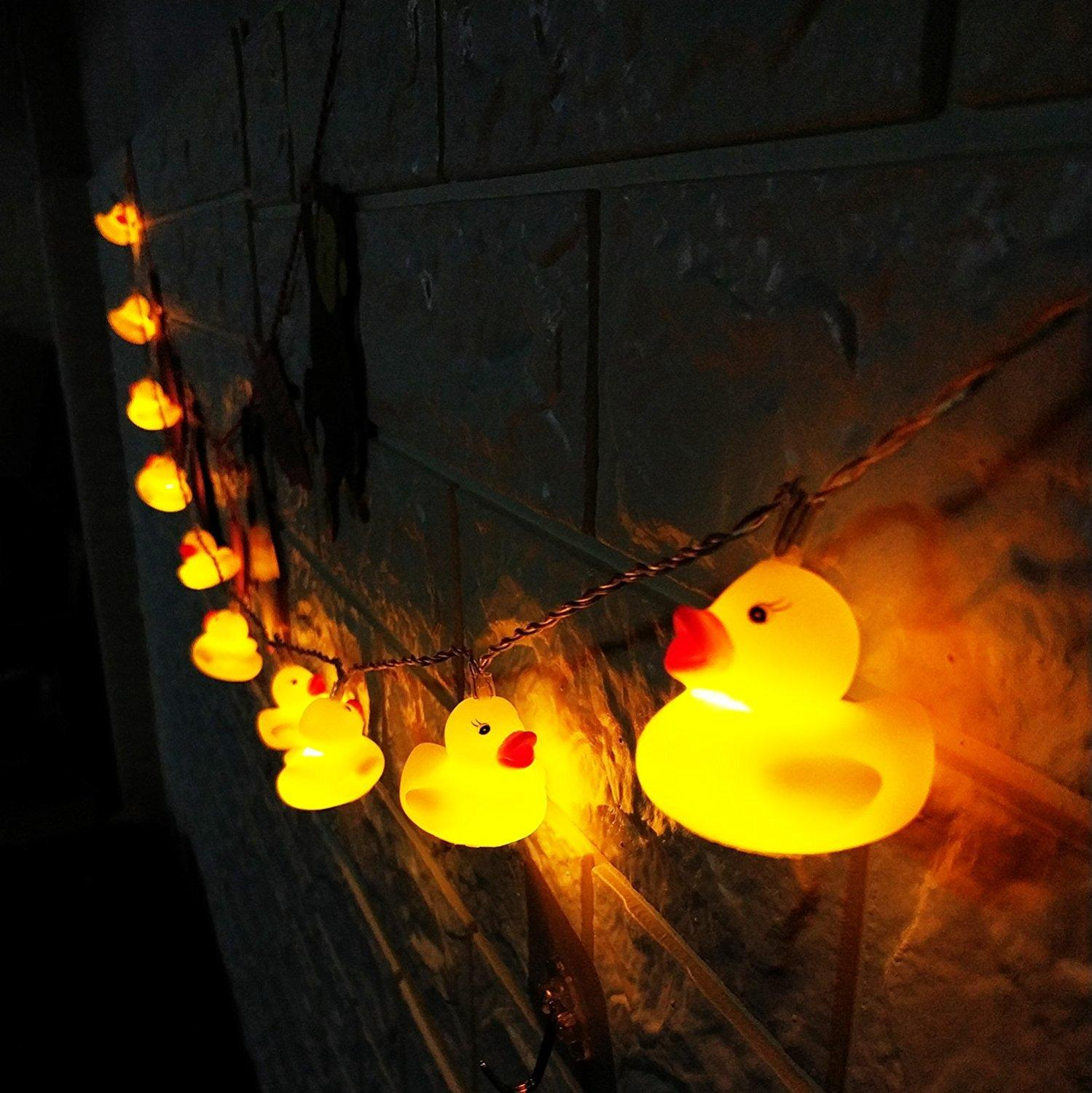 Battery Operated 10/20Leds Yellow Duck LED String Lights Indoor Outdoor Cute Animal Christmas Wedding Party Decoration Lights