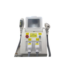 2 in 1 OPT SHR IPL hair removal +Q-switched ND Yag laser tattoo remover carbon peeling yag laser machine eyebrow remover