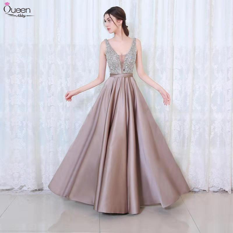 Beading Prom Dresses Long Queen Abby A-line Deep V Neck Tulle Pink Sleeveless Evening Gown Zipper Up Backless Sexy Vestido De