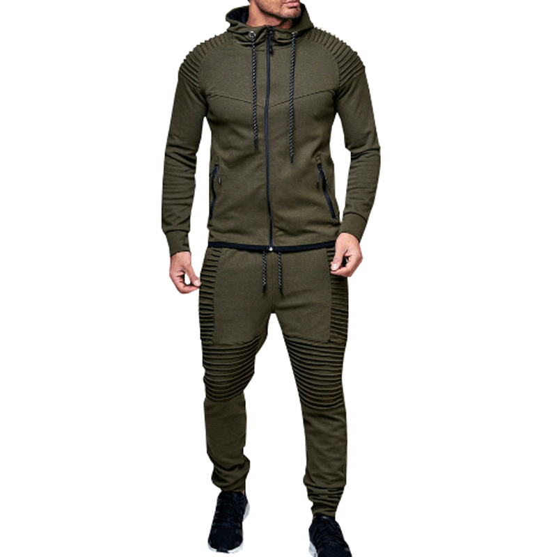 Tracksuit Men Sport Suit Running Gym Clothing Casual Hoodies Tracksuit Set Men Zipper Sweatshirt+pant Jogger Suit Chandal Hombre