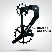 18TSRX Bicycle Rear Derailleur Carbon Fiber 12/18T Ceramic Bearing Jockey Wheel Set Bike Pulley Wheel for SRAM X1 XX1 GX NX