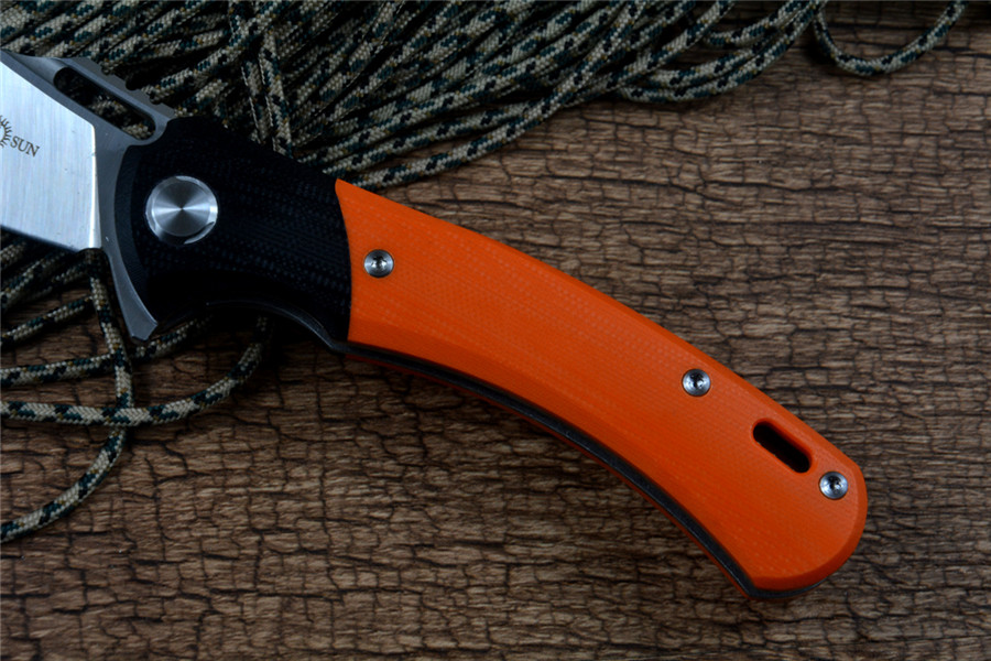 Tools : TWOSUN Flipper Fast Open 14C28N Blade Satin CNC Orange G10 Handle Pocket Folding Gift Survival Hunting Knives TS127 Outdoor Gear