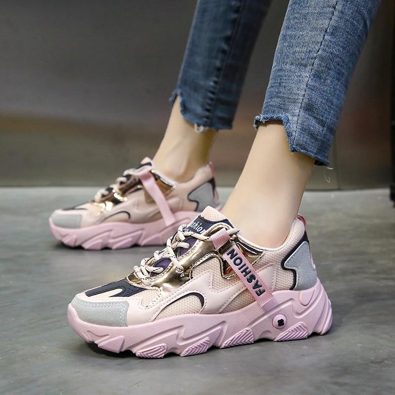 2020 Summer Shoes Woman Sneakers Non-slip Ladies Shoes Hot Casual Women Shoes Fashion Platform Espadrilles Daddy Shoes Leisure