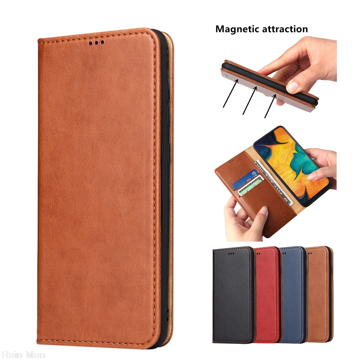 Clamshell Phone Case For Samsung Galaxy A20 A30 A50 A40 A70 A51 A71 A80 A90 Leather Case Magnetic Adsorption Flip Cover Case