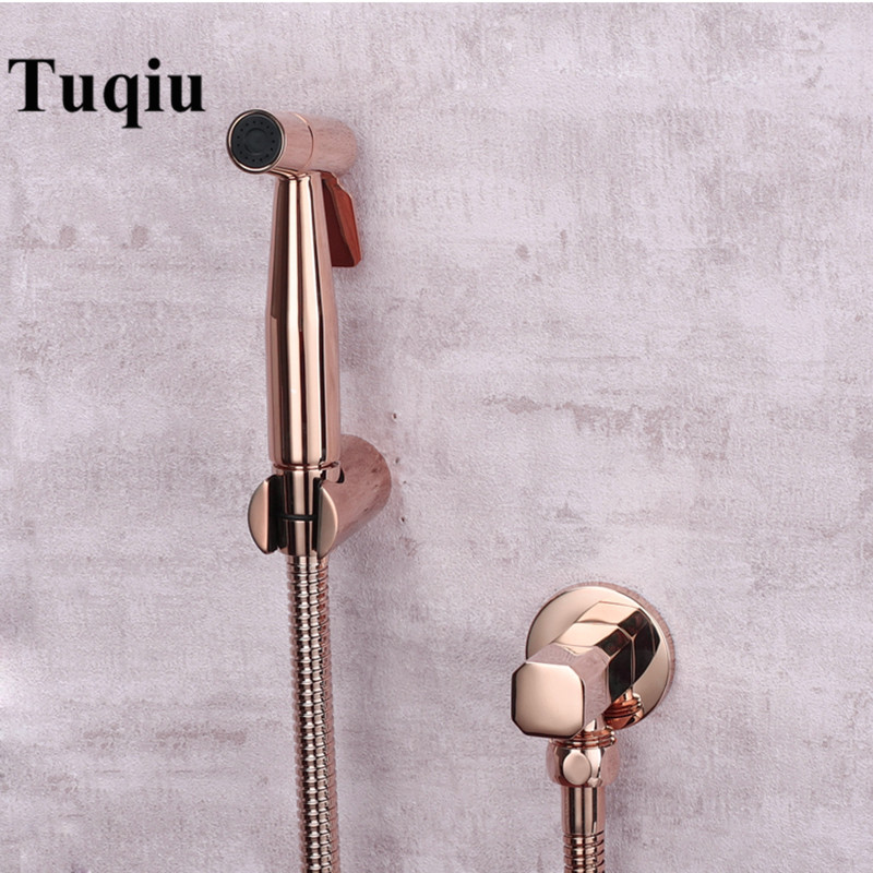 Tuqiu Hand Held Bidet Sprayer Douche Toilet Kit Rose Gold Brass Shattaf Shower Head Copper Valve Set Jet Bidet Faucet Set