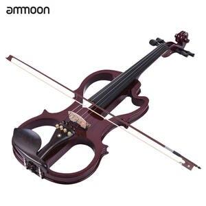 Ammoon Ebony Electric Violin Solid-Wood Maple-Body Full-Size Pegs Fingerboard Fiddle