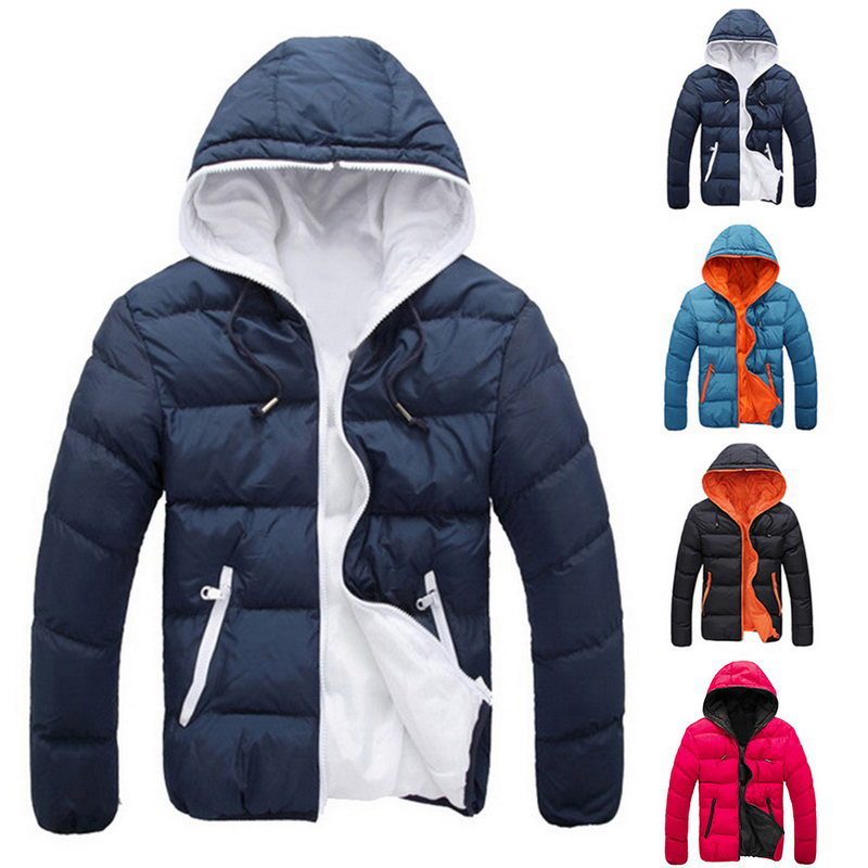 Candy Color Men's Parka Hooded Men Clothes Parkas Men's 2019 Clothes Coats Fot Male Cotton Men's Winter Jacket