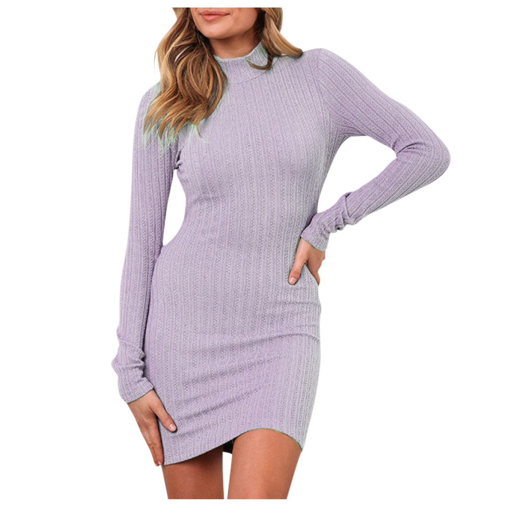 Womail Sexy <font><b>Open</b></font> <font><b>Back</b></font> <font><b>Dresses</b></font> 2019 New Sheath O-Neck Knitted Winter <font><b>Dresses</b></font> Slim <font><b>Dress</b></font> Autumn Winter Long Sleeve image