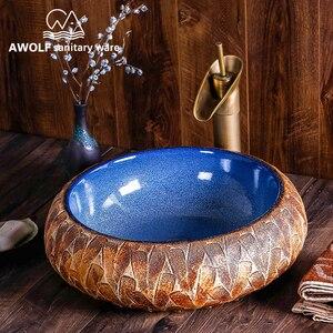 Image 4 - Arte fregadero de baño, cuenco para lavabo, 460x460x150mm, redondo, restauración de antiguas formas, recipiente de cerámica, lavabo antiguo AM863