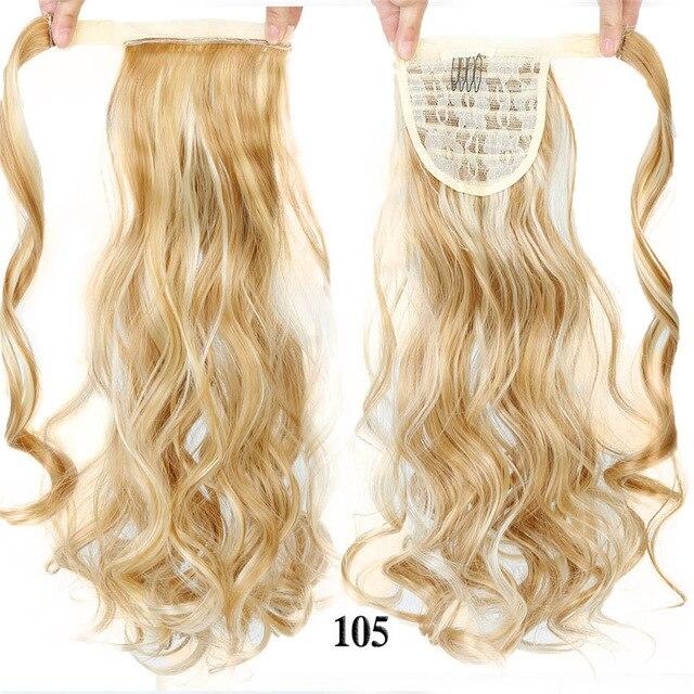 HOUYAN 24 дюймов длинные толстые прямые волосы кудрявые волосы синтетические волокна конский хвост обернутый парик длинный парик конский хвост парик - Цвет: 105