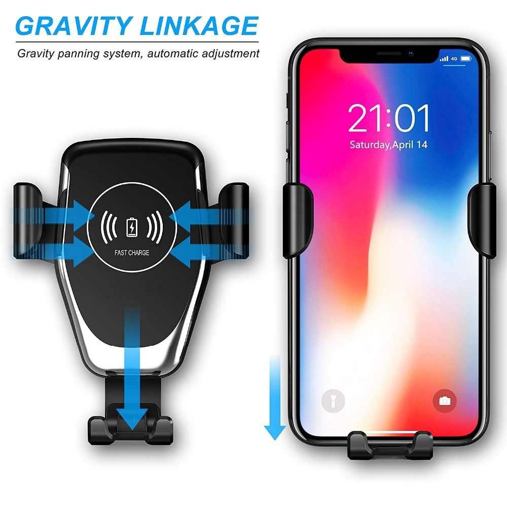 Soporte de gravedad para cargador de coche inalámbrico FDGAO para Samsung S10 S10e Note 10 9 10W soporte de carga rápida para iPhone 11 X XS X MAX XR 8