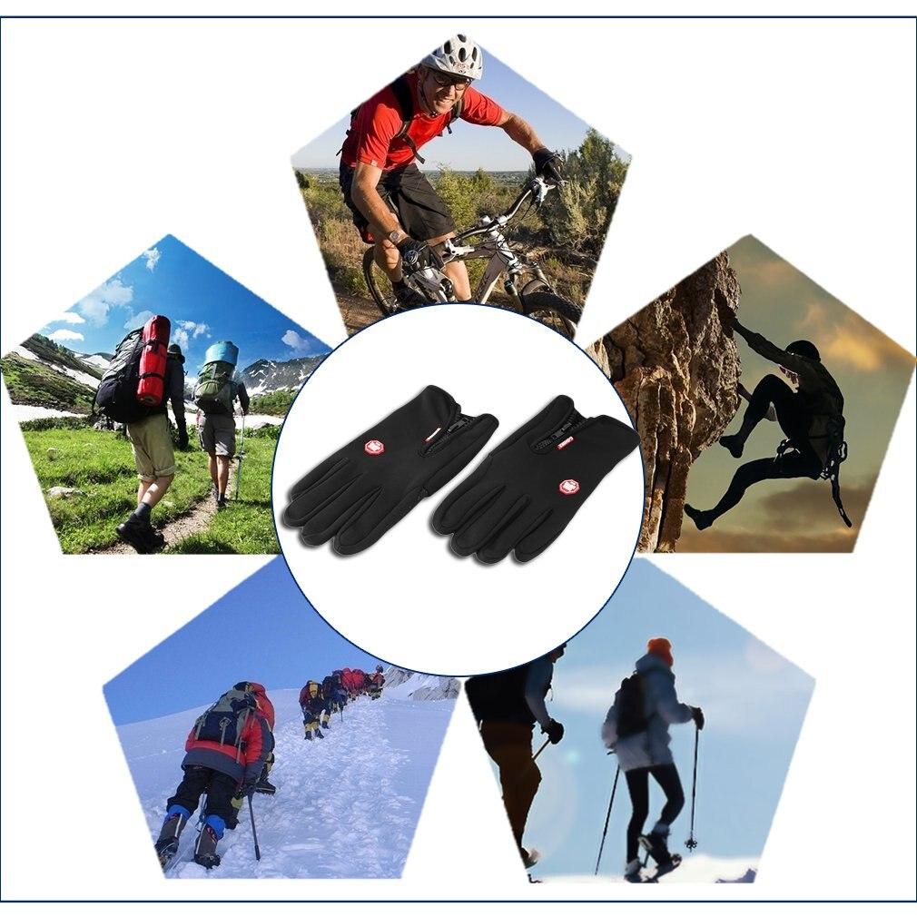 Мужские Женские зимние теплые дышащие уличные спортивные походные зимние ветрозащитные велосипедные перчатки с сенсорным экраном - 5