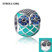 StrollGirl Silver 925 Animal Owl Charm Beads with Enamel & CZ Fit Authentic Pandora Bracelet Pendant Sterling-Silver-Jewelry стоимость