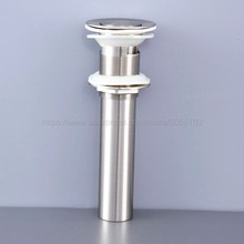 цена на Brushed Nickel Bathroom Lavatory Faucet Vessel Vanity Sink Pop Up Drain Stopper With Overflow Accessories zsd073