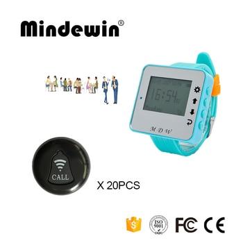 Mindewin New Wireless Waiter Calling System 20PCS Service Call Button M-K-1 + 1PCS Watch Pager M-W-1 Restaurant Service