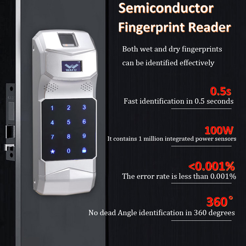 WAFU Teclado Senha de Impressões Digitais Sem Fio Controlador de 315Mhz para Controle Remoto WAFU Inteligente Porta LockWF-008/WF-018