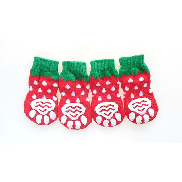4 шт/компл милые вязаные носки для собак хлопковая противоскользящая
